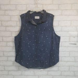 Universal thread star print chambray  top size L